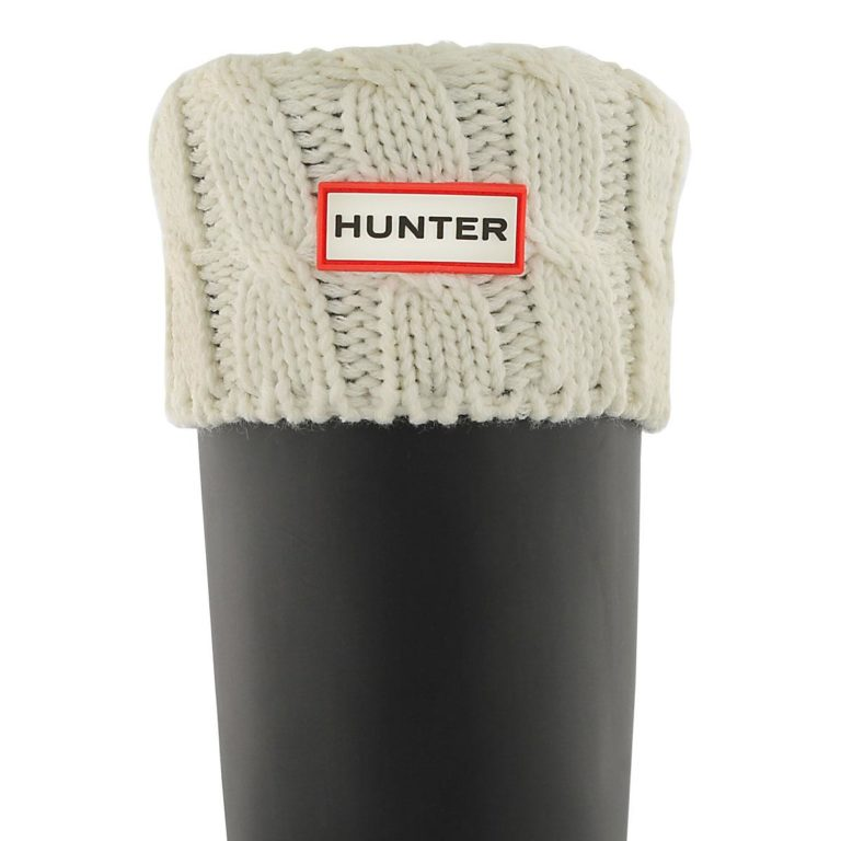 Meias HUNTER 6 Stitch Cable Boot Socks White UAS3036AABNWH