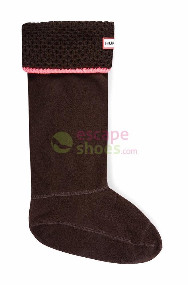 Meias HUNTER Neon Trim Boot Socks Dark Chocolate Neon Pink UAS3005AADDCN