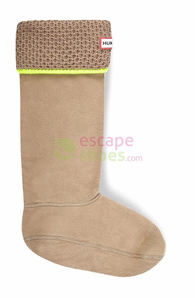 Meias HUNTER Neon Trim Boot Socks Dark Putty Neon Yellow UAS3005AADPNY