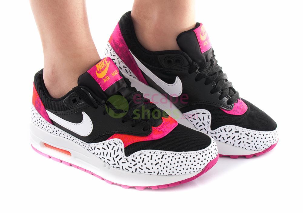 Sneakers Nike Wmns Air Max 1 Print Black White Fireberry Pink Pow 528898 002