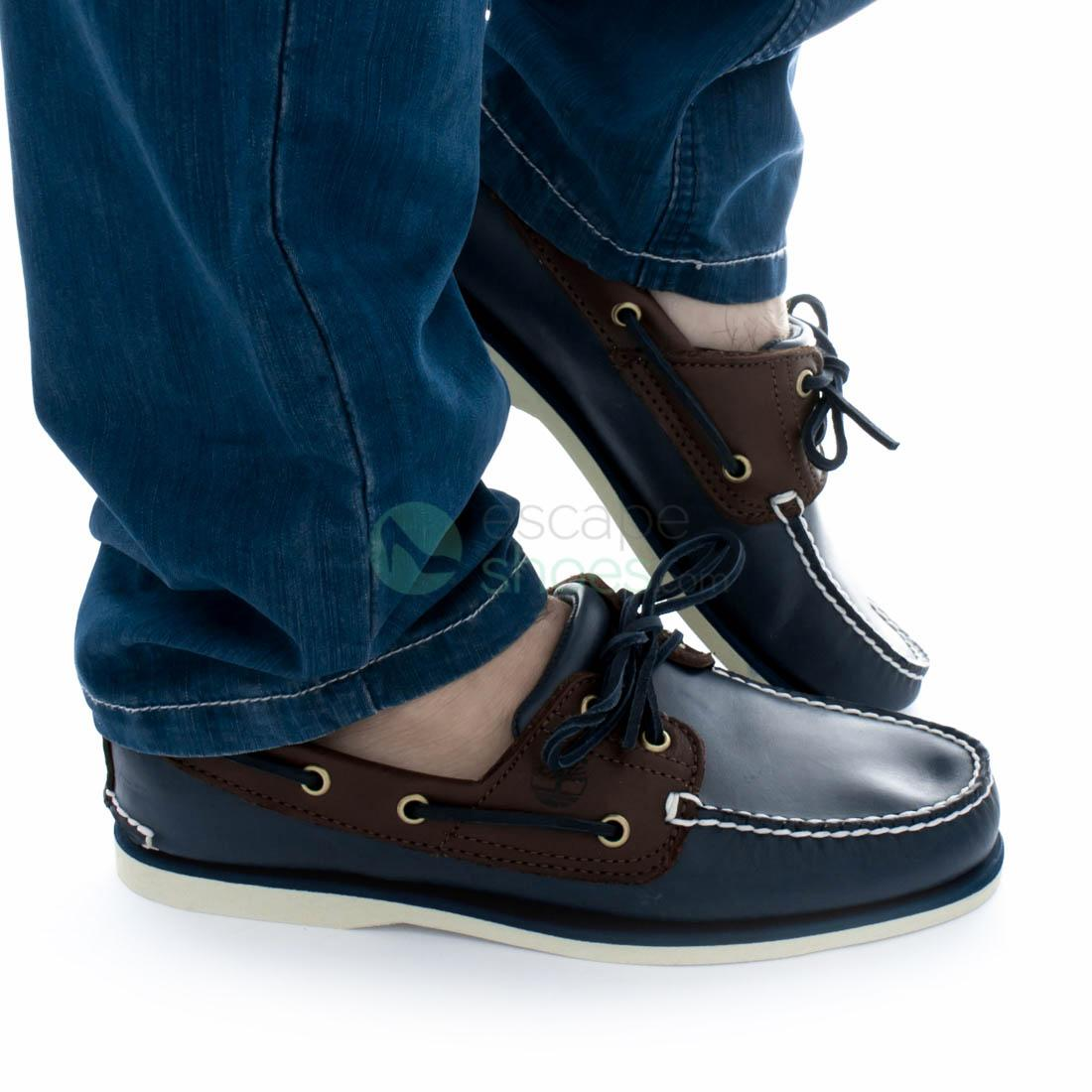 gritar Ganar control Colibrí  Boat Shoes TIMBERLAND Classic 2 Eye Blue Dark Brown A16MJ
