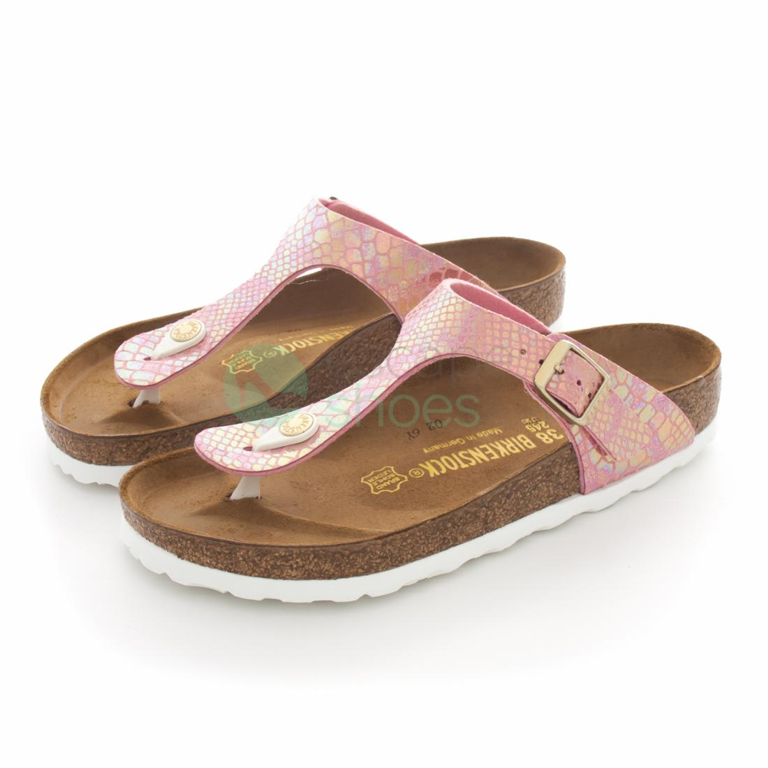 9316631bc3a Buy your Sandals BIRKENSTOCK 847421 Gizeh Shiny Snake Rose here ...