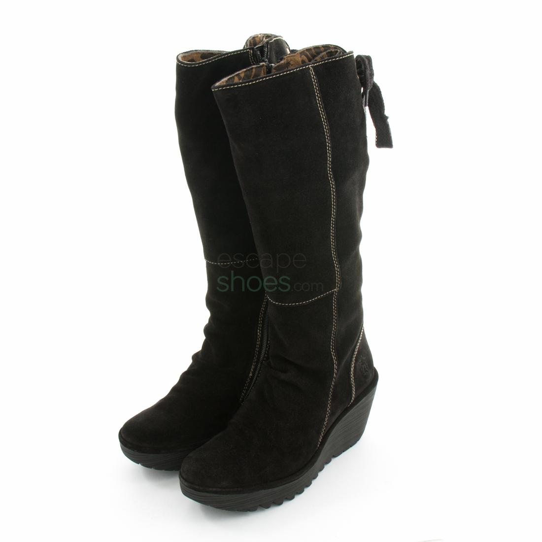 7bda7bfe Botas FLY LONDON Yellow Yust Suede Negro P500327006