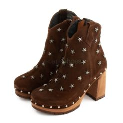Botins XUZ Salto Pop Castanhos com Estrelas