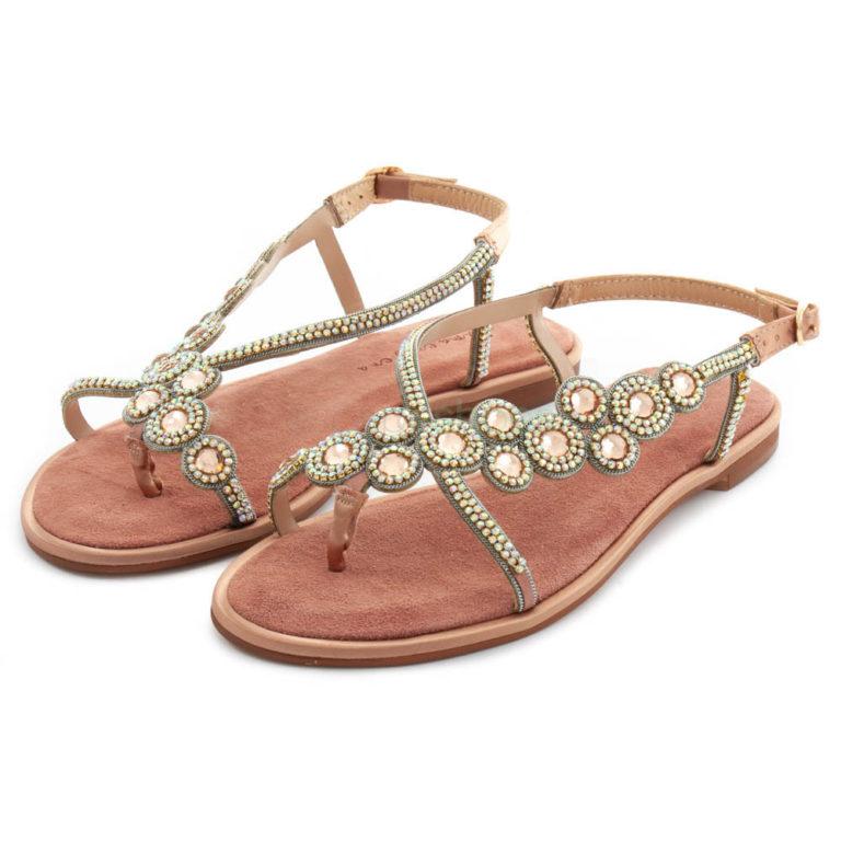 Sandals ALMA EN PENA Suede Rhinestones Pink