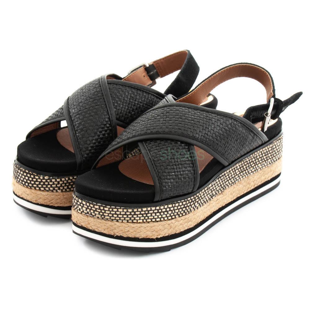 boutique de salida diseño exquisito compras Sandalias GIOSEPPO Chaidari Plataforma Negras