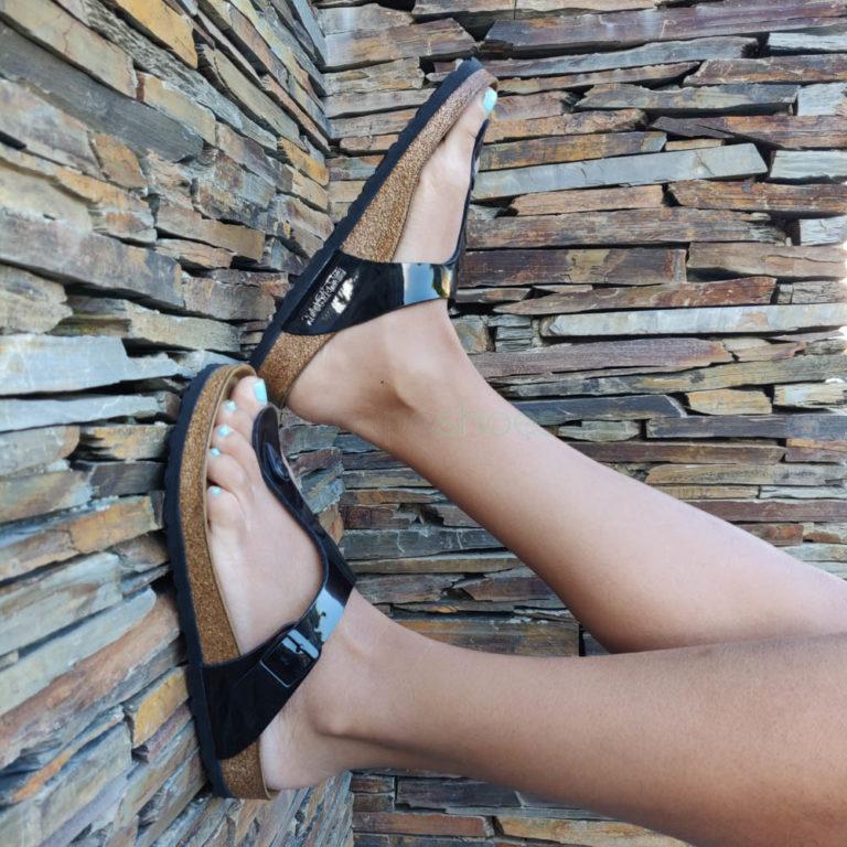 Sandálias BIRKENSTOCK 043661 Gizeh Preto Verniz