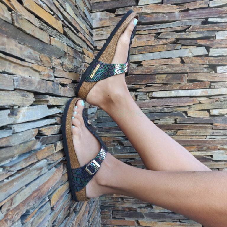Sandálias BIRKENSTOCK Gizeh 1003464 Shiny Snake Black Multi