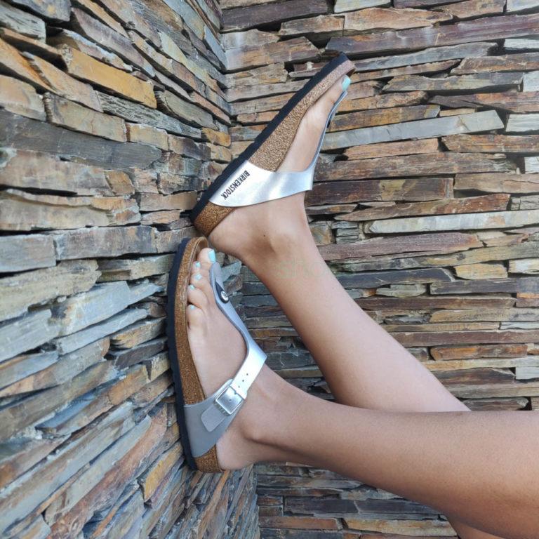 Sandálias BIRKENSTOCK Gizeh 43851 Prata