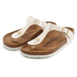 Sandals BIRKENSTOCK Gizeh Shiny Snake Cream 847431