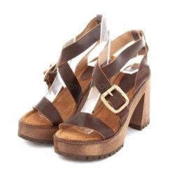 Sandals XUZ Pop Heel Brown Leather Gold Buckle