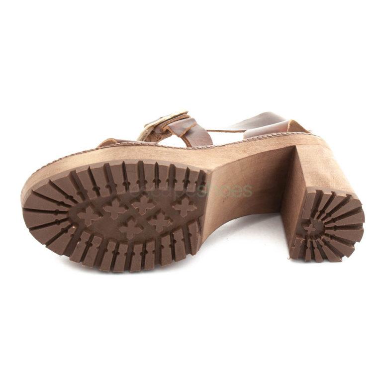 Sandálias XUZ Salto Pop Pele Castanha Fivela Dourada