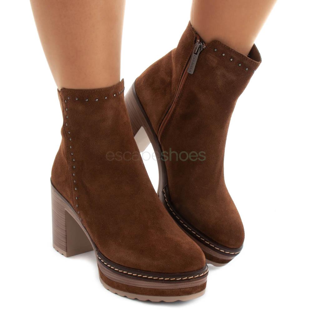 Ankle Boots CARMELA High Heel Serraje Camel