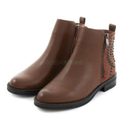 Ankle Boots XTI Combined Leather Zip Taupe