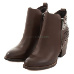 Ankle Boots XTI High Heel Leather Zip Brown
