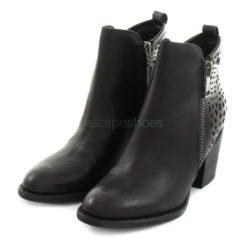 Ankle Boots XTI High Heel Leather Zip Black