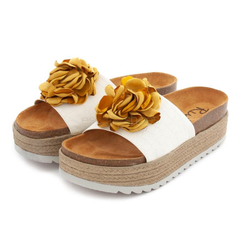 Sandálias RUIKA Pele Branca Flor Amarela