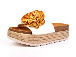 Sandalias RUIKA Pele Branca Flor Amarela