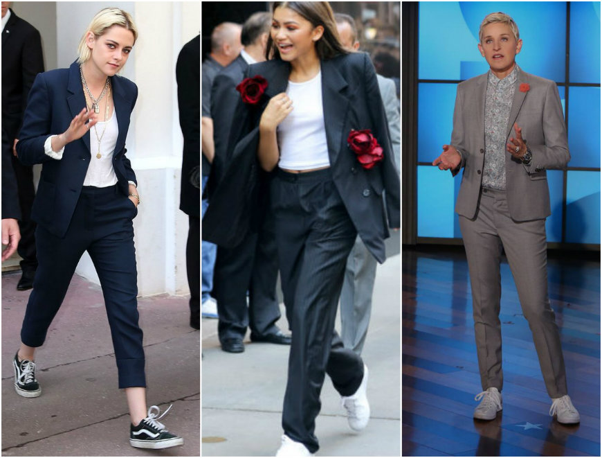 female celebrities wearing suits with sneakers