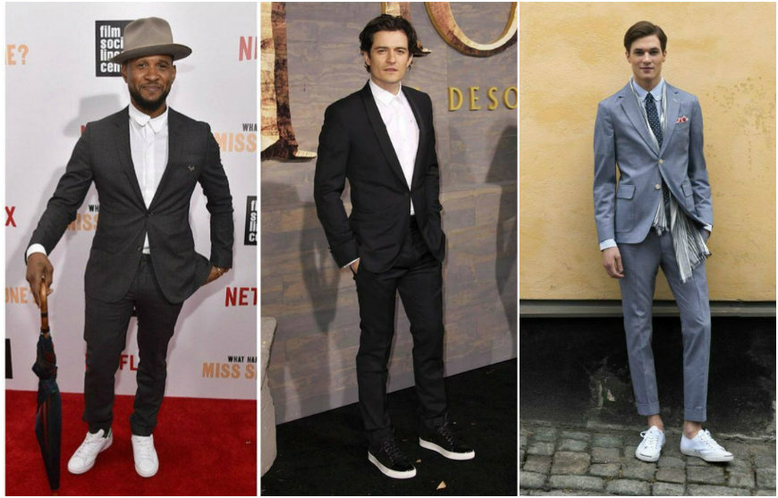 male celerities wearing sneakers with suits