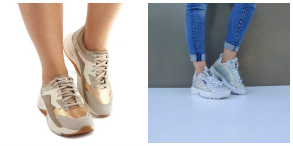 golden silver chunky shoes